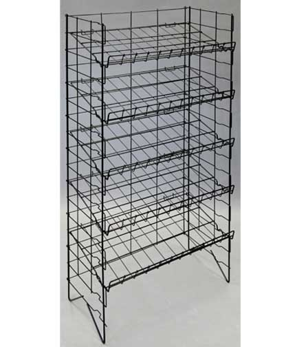 082854  Adjustable 5 Shelf Black Wire Rack 24 5 L x. Super Market Merchandising